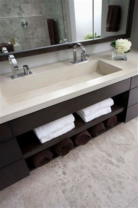 bathrooms dazzling modern bathroom sinks for trough sink the sink is integrated into one long piece of concrete and