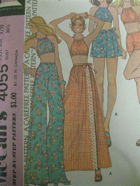 sewing pattern wrap vintage 70 s mccalls 4055 drawstring halter top wrap skirt