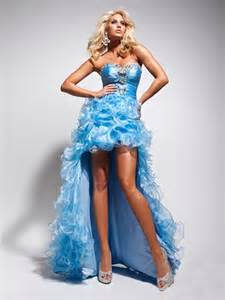 Popular High Low Sweetheart Ligh Blue Organza Party Prom