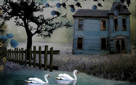 art for house hd painting art texture rustic birds swan fence house
