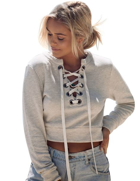 sweater hodie crop 3wrn crop lace up hoodie sweater made