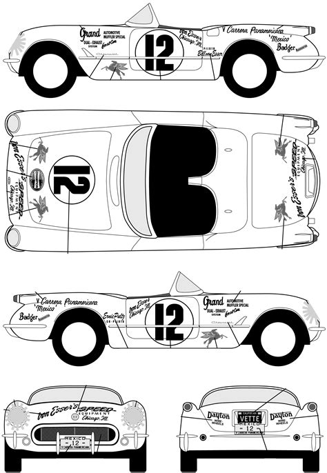 1953 Chevrolet Corvette Roadster blueprints free - Outlines