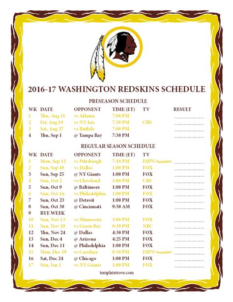 printable 2016 2017 washington redskins schedule