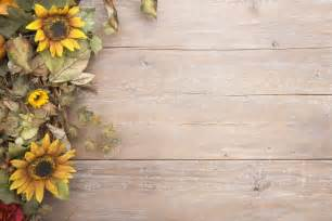 Autumn Barn Wedding Fall Border With Sunflowers On A Grunge Wood Background