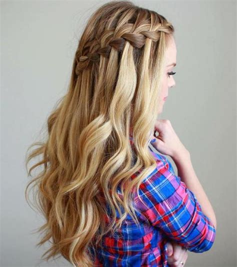 Hairstyles With Curls And Braids by 40 Flowing Waterfall Braid Styles Waterfall Braid
