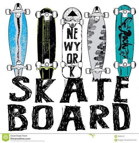 skate board typography t shirt graphics vectors stock
