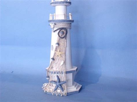 lighthouse home decor wooden white lighthouse with shells 16 quot decorative
