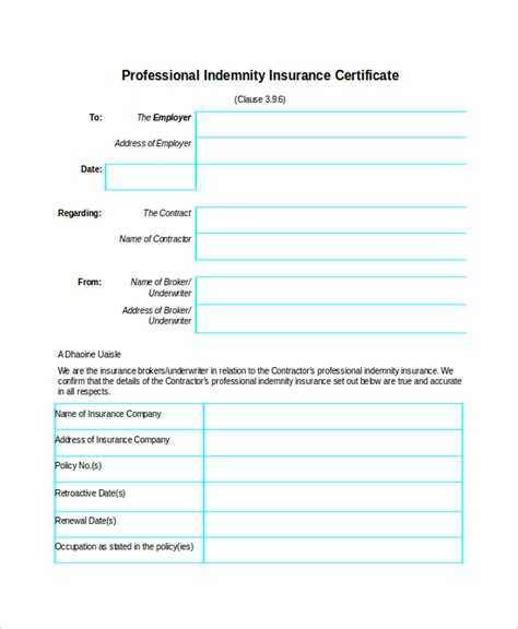 insurance certificate template 10 free word pdf