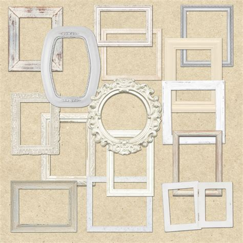 shabby chic white wooden frames clipart for scrapbooking crafts invitations digital