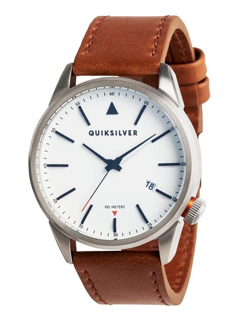 Quiksilver Chrono Leather Brown Silver Black timebox 42 leather montre analogique 3613373216861