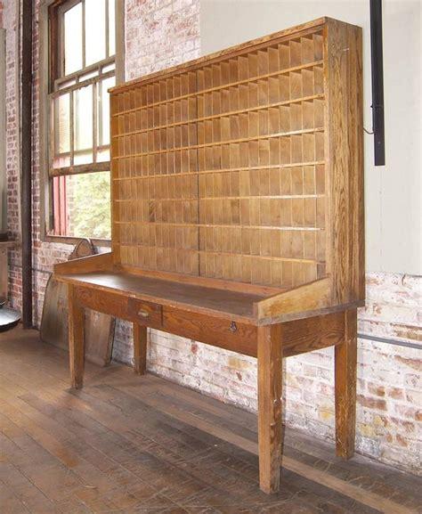 Antique Industrial Wood Postal Sorting Desk Storage Post Antique Post Office Desk