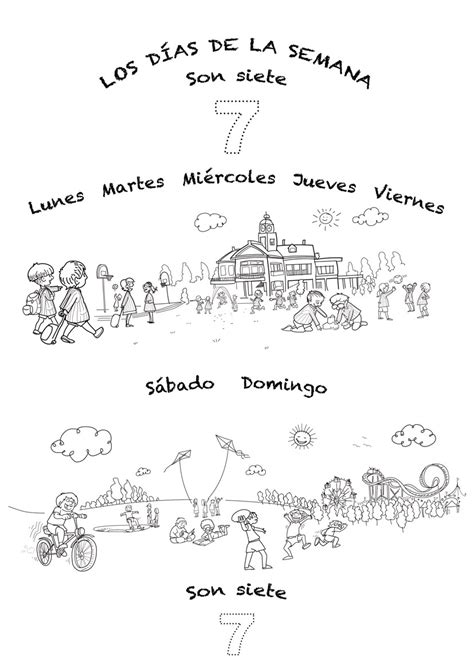 days of the week coloring pages in spanish spanish language song about days of the week for kids