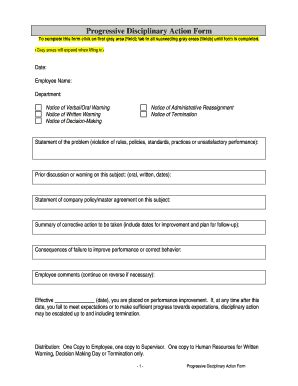 progressive discipline form template fill
