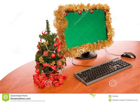how to decorate a bureau for christmas in a tiny cottage office desk with decoration stock photo image of green paper 7320098