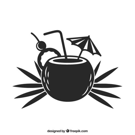 tropical cocktail silhouette summer cocktail icon vector free download