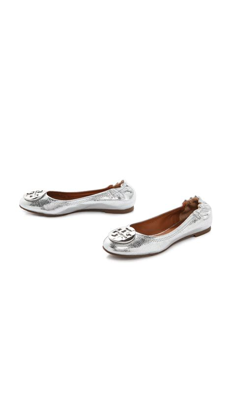 Burch Flat Shoes Mirror Quality 17 Burch Metallic Reva Ballerina Flat In Metallic Lyst