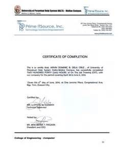 ojt certificate of completion template ojt narrative report