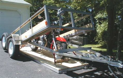plans for drop deck motorcycle trailer deck that goes flat to ground