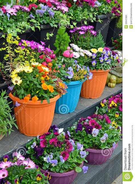 Colorful Outdoor Planters Colorful Flowerpots On Display Stock Photo Image 30641960