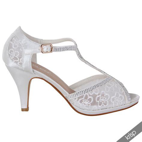 Weisse Pumps Mit Strass by Damen Pumps Stilettos Riemchensandalen Spitze Strass Wei 223 E