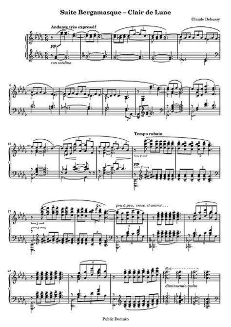 debussy clair de lune mp claude debussy claire de lune piano sheets