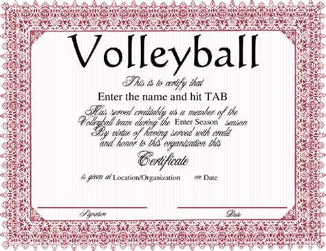 printable volleyball certificates of achievement award certificate quotes quotesgram