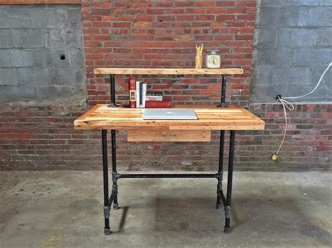 wood stand up desk pallet and steel pipe stand up desk pallet furniture diy
