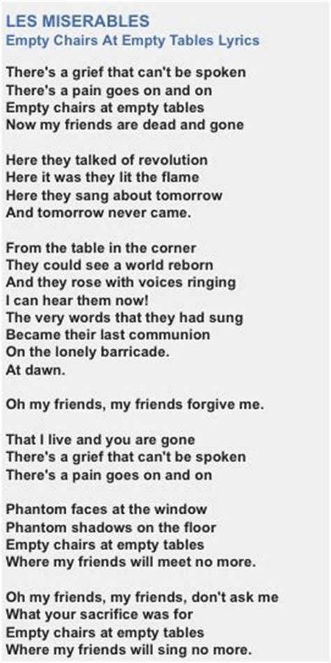 Lyrics To Empty Chairs And Empty Tables quot empty chairs at empty tables quot lyrics les mis 233 rables