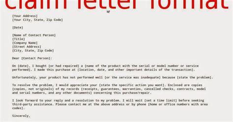 No Claim Insurance Letter Format Claim Letter Format Sles Business Letters