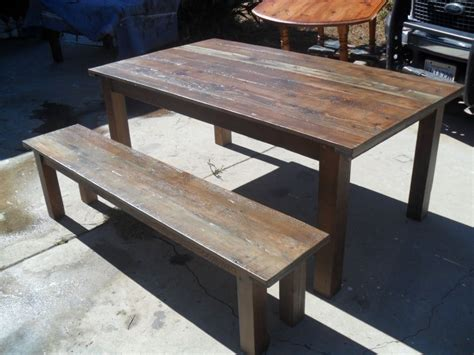 made reclaimed wood dining table and bench custom