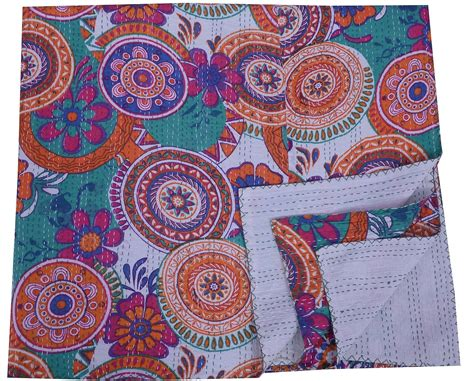Kantha Quilt by Indian Kantha Quilt Gudari Throw Handmade Cotton