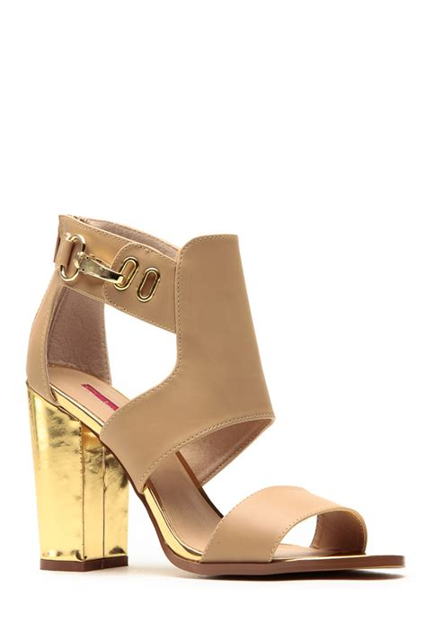 c label gold single sole chunky heels cicihot heel shoes
