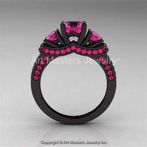 14k black gold three pink sapphire engagement