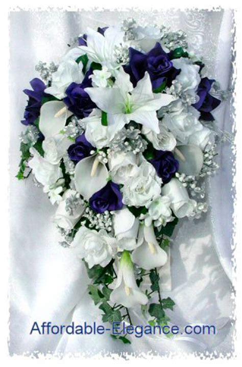 Wedding Bouquet Ebay by Blue White Calla Lilies Roses Bridal Cascade Bouquet