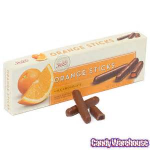 Milk chocolate covered orange jelly candy sticks 10 5 ounce gift box