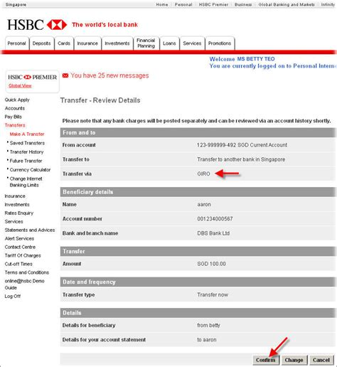 transfer to international bank account transfer via giro with hsbc hsbc singapore