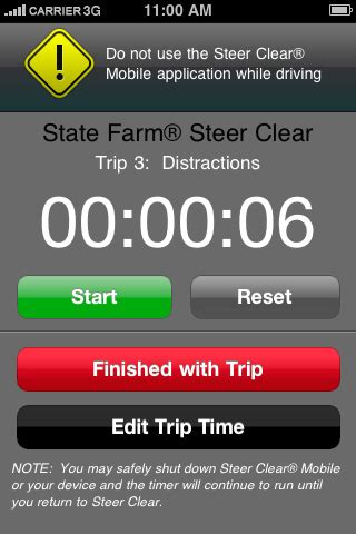 steer clear app trip timer screen | the steer clear