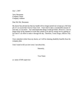 Resignation Letter Due To Health Reasons Resignation For Reasons