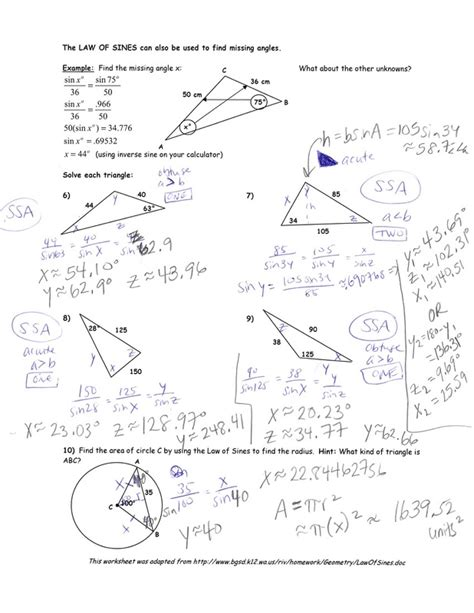 Of Sines And Cosines Worksheet With Answers by Of Sines Worksheet Worksheets Releaseboard Free