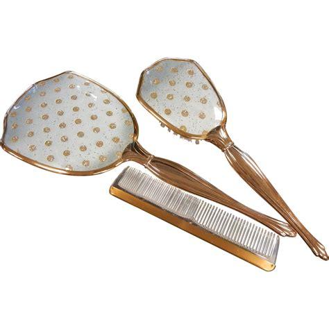 Set Comb Mirror vintage 3 dresser vanity set w comb brush