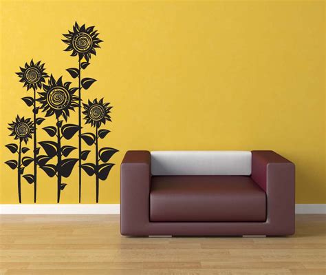 sunflower wall stickers sunflower decor sunflowers floral wall decal flower