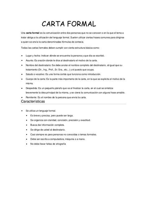 La Carta Formal Pdf resumen de la carta formal