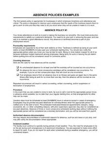 absenteeism policy template absence policies template sle form biztree
