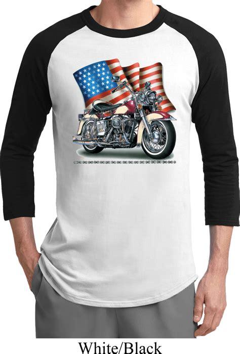 mens biker mens biker shirt motorcycle flag raglan tee t shirt