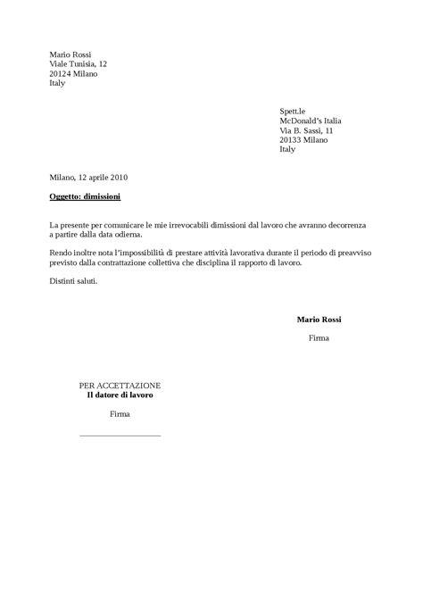 lettere di dimissione fax simile 2 lettera dimissioni 1 docsity
