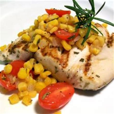Shalina Blue blue marlin with roasted corn and tomato relish recipe by