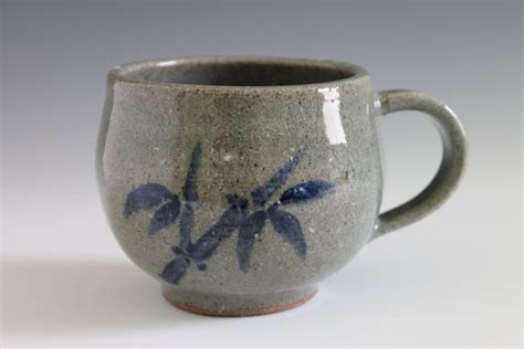 Handmade Mug Designs - bamboo design celadon ceramic mug cup handmade by insceramics