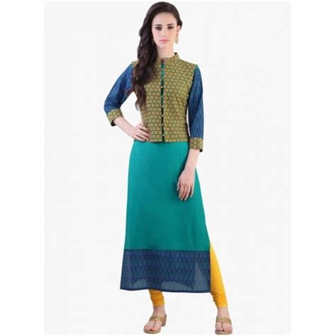 jacket pattern kurti online buy libas green printed jacket style kurti online