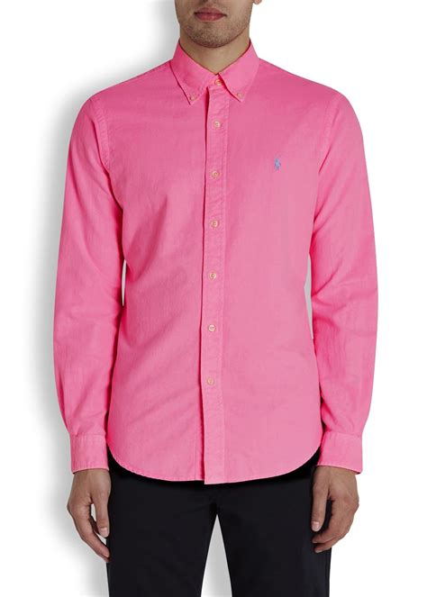 Blouse Qorry Polo Pink lyst polo ralph bright pink cotton shirt in pink for