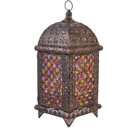 Pillar Lantern Candle Holders Large Vintage Moroccan Brass Colour Metal Lantern